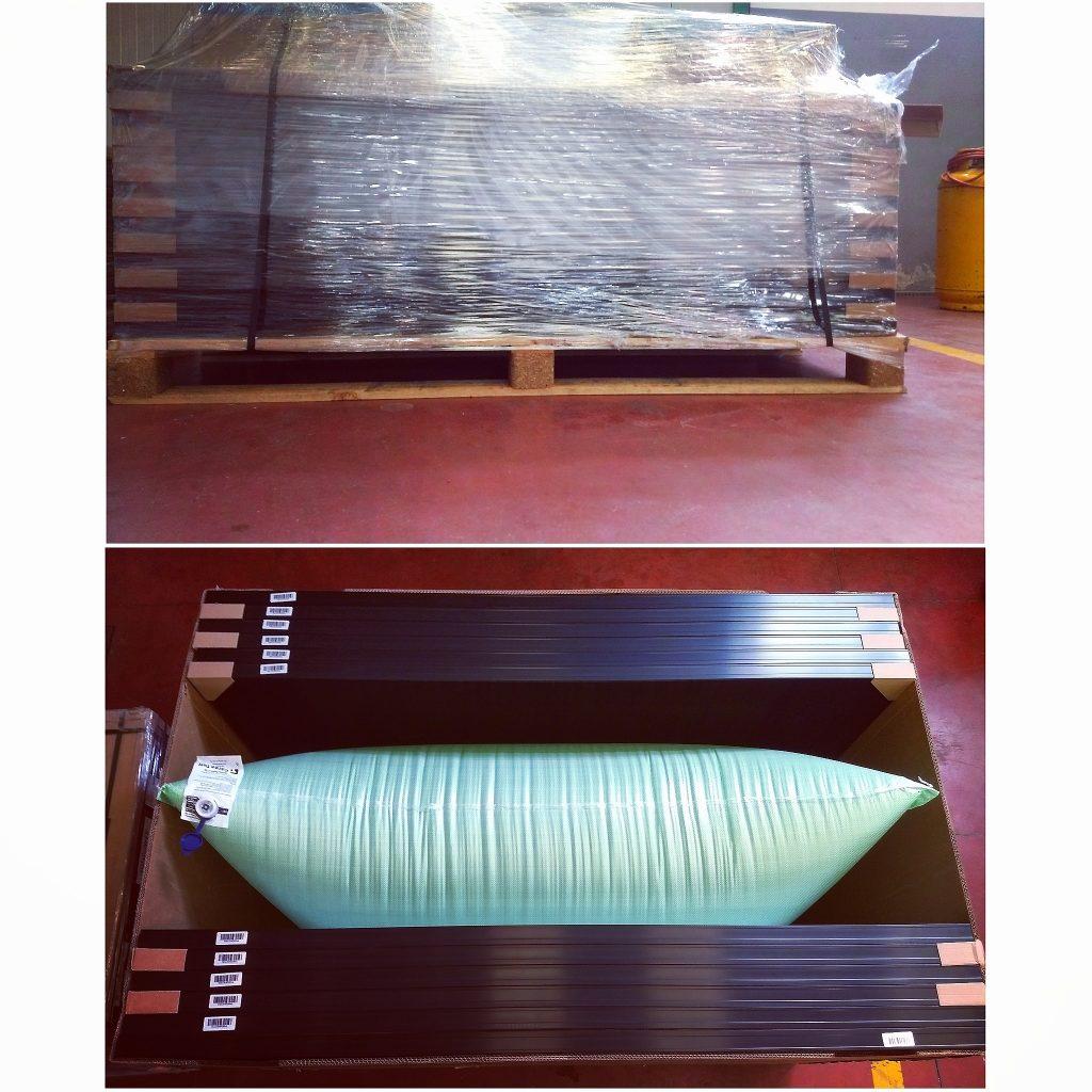 Foto comparazione dell'imballaggio tra un pannello standard e un pannello SunPower
